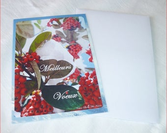 "Double card Celine Art Nature best wishes ""Greeting in the colors of winter"" Photos"