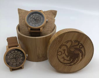 Game of Thrones House Targaryen laser engraved Genuine Leather and Bamboo Watch!