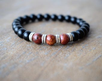 Men's Beaded Bracelets, Men's Bracelet, Men's Energy Bracelet, Black Onyx Bracelets, Picasso Jasper Beaded Bracelet, Gift For Men