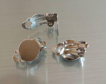 Lot de 5 paires de supports boucles d'oreilles à clip pour cabochon à coller, 18 x 10 mm, plateau 10 mm