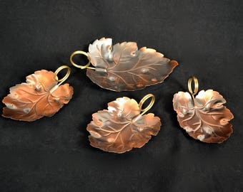 1970's Set of 4 (Four) Leaf Shape Copper Nut Dishes / Bowls With Brass Handles by Coppercraft Guild