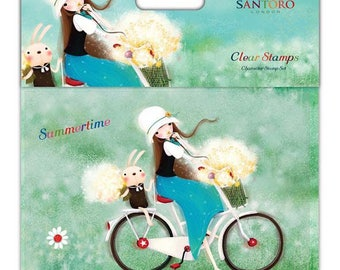 Size A6 - girl bike - SKKSTMP002 stamps