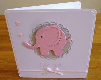 Baby girl card, elephant, new baby