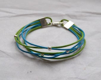 """Bracelet """"island coconut"""" leather round blue/green sterling silver"""