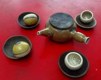 Teapot bowls saucers ceramic raku
