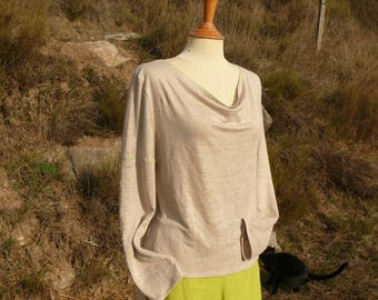 Linen jersey (100%) sweater ecru