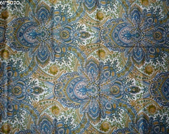 Coupon fabric vintage blue and ochre 50 * 70cm [ref 061 * 5070]