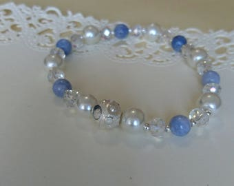 Something Blue Bridal Beaded Bracelet with Pearls & Crystals