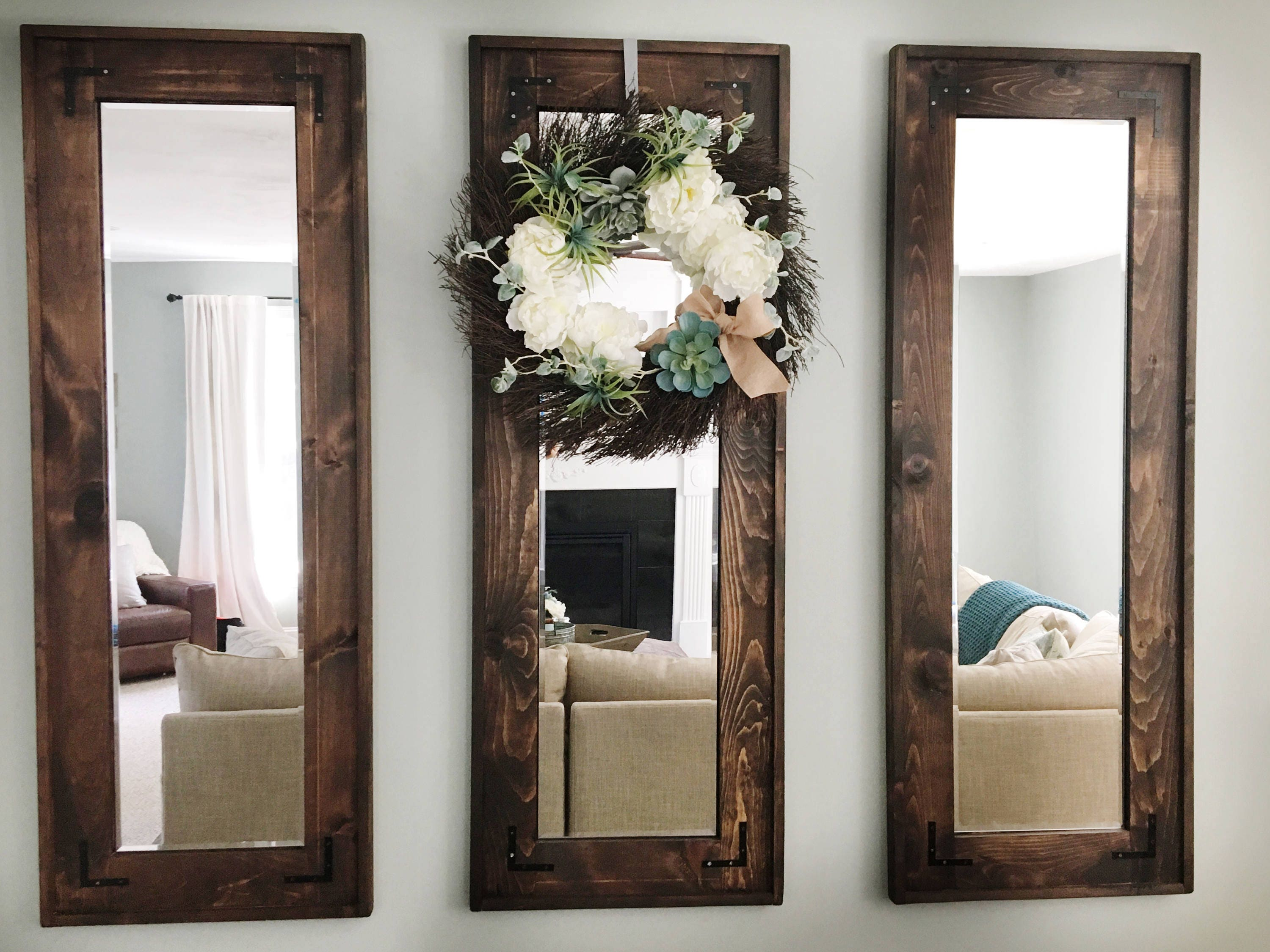 Set of 3 rustic farmhouse style full length mirror wall decor - Farmhouse style bathroom mirrors ...