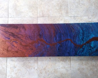"12x38"" Abstract Acrylic Painting"