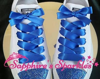 Royal Blue Wedding Shoes Customised Bling Chucks Bride Blue Mono Converse