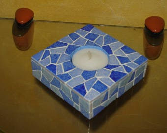 The blue tone Square candle holder