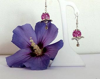 Silver earrings flower and Pink Rhinestone beads
