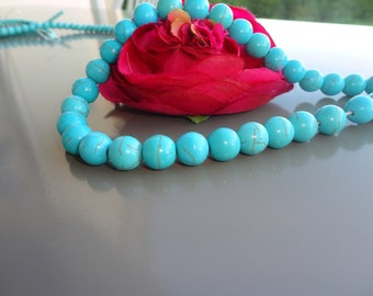 10 turquoise round beads 10 mm