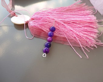 Purple 6 mm round jade beads x 10