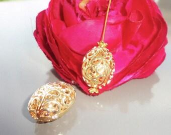 2 Golden pearls oval openwork hollow filigree Golden 2 cm