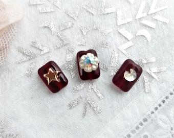 beads Czech glass red rectangular bead charm 12 x 8 mm 3 beads