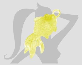 Lot 4 x breloques Poisson 40mm Acrylique transparente jaune
