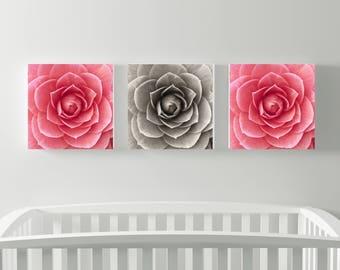 Three Square Carnation Flower Prints - Baby Girl Nursery - Home Decor -  Modern Decor - Floral Photography - Square flower prints