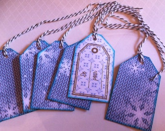 gift tags, Christmas, snowflakes, blue and white