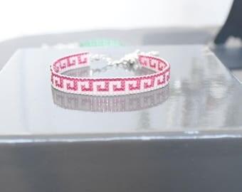 Woven bracelet raspberry pink and blush pearls Miyuki