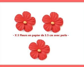 X 3 pretty flowers in foil neighborhood 3.5 cm - red - new