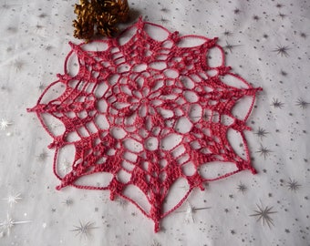 gradient pink red hand made crochet doily