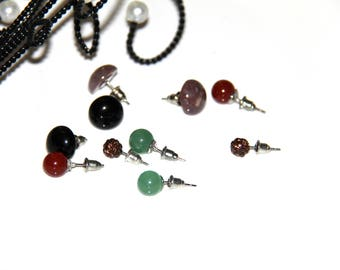 E lot 5 pairs supports studs earrings semi precious stones