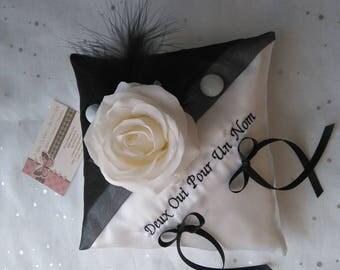 Black White Satin and organza wedding door cushion
