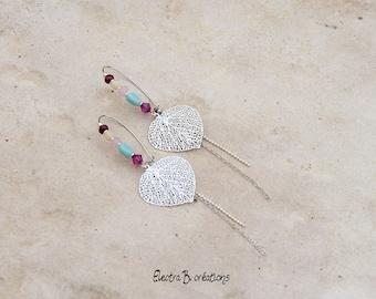 Earrings long Bohemian chic leaves silver