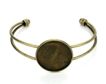 Support Bracelet antique bronze 25mm cabochon