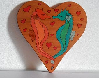 Heart wooden seahorse in wall hanging decoration