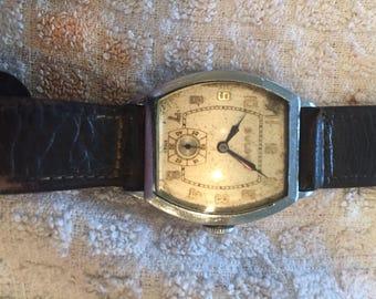 Bulova vintage(swiss) mens fancy tonneau case c1930 watch