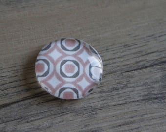 1 cabochon clear 25mm round pattern Brown and pink