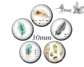 5pcs PA643 glass jelly feathers, colored pencils 30 mm cabochons
