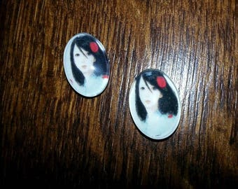Asian woman portrait cabochon 18X25mm
