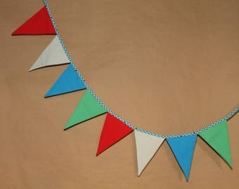 Multicolor, fabric flags Garland with tiny polka dots