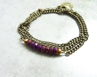 Bracelet 3 laps bronze purple Boreal