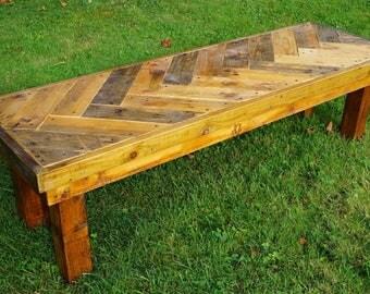 rustic garden bench using reclaimed materials pallets with herringbone pattern outdoor bench garden