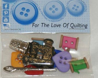 "12 novelty buttons - ""For the love of Quilting"" - sewing theme"