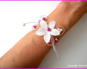 Ines hot Silver White Pearl wedding flower bracelet