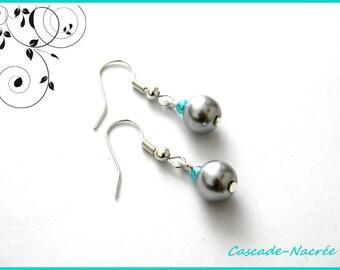 grey turquoise bridal wedding Pearl Earrings Pearl
