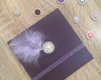 Handmade Pocketfold Wedding Invitation Purplepearl