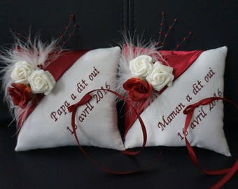 Burgundy and ivory duo ring bearer pillow