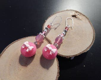 Pink cupcake beads and crystal earrings