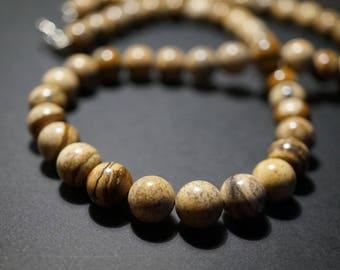 Necklace desert Jasper, gemstone beads 10 mm