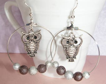Hoop OWL and stardust beads