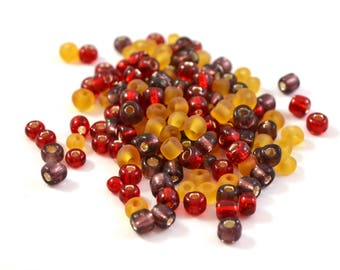 10 gr large purple, red and orange 4mm glass seed beads / MPERRO012