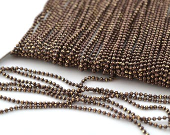 Brown and gold 1.2 mm metal ball chain 50cm