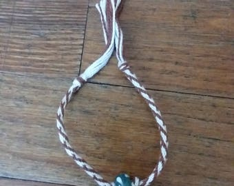 Brown , White, and Jade Friendship Bracelet